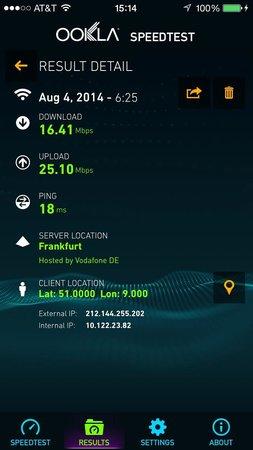 Hilton Duesseldorf: Blazing fast internet speed
