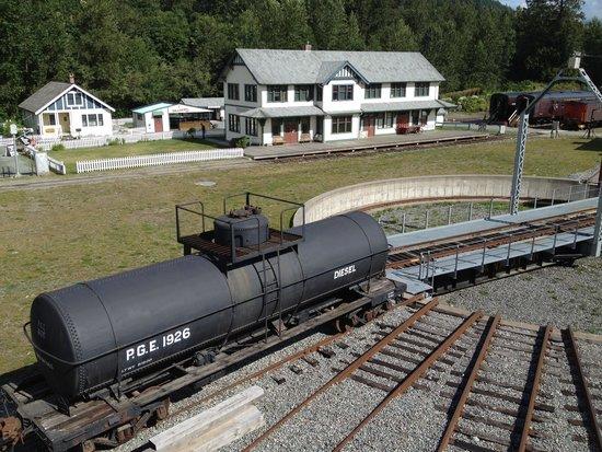 West Coast Railway Heritage Park : Roundhouse tracks, Station & Heritage House