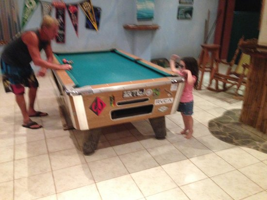 Surf Club Sports Bar: Mike (the owner) and the littlest pool player, Mini.