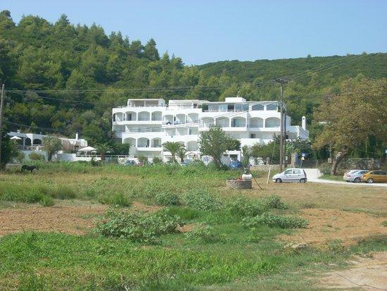 Plaza Skiathos Hotel: vista hotel dalla spiaggia