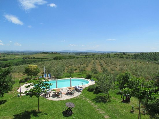 Agriturismo La Falconara: view from upstairs bedroom of pool area