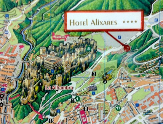 Hotel Alixares : The hotel map showing proximity to The Alhambra