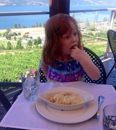 Gray Monk Estate Winery : My granddaughter enjoying her first taste od spatzle