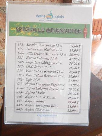 Defne Garden: Weinkarte