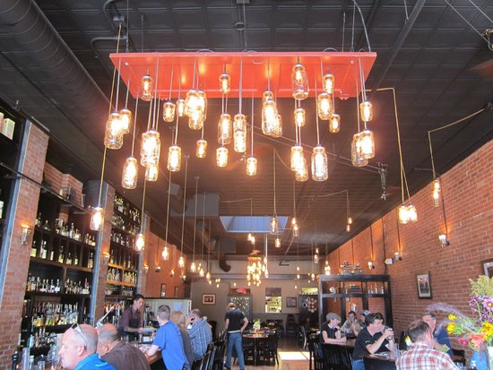 El Moro Spirits & Tavern: Jelly jars and a door make a great chandelier