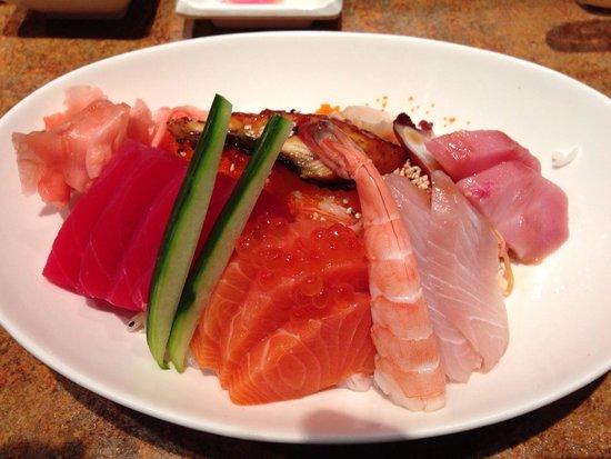 Yama Asian Cuisine: Chirashi! Assorted fish on sushi rice.