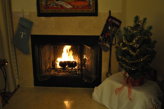 Residence Inn San Diego Rancho Bernardo/Carmel Mountain Ranch: Our Christmas tree by the fireplace helped add to the already homey feel this establishment stri
