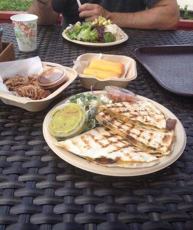 Sweet Home Waimanalo: Veggie quesadilla, side of BBQ pulled pork, veggie chili plate, and corn bread