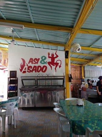 Asi & Asado: wall over salsa bar
