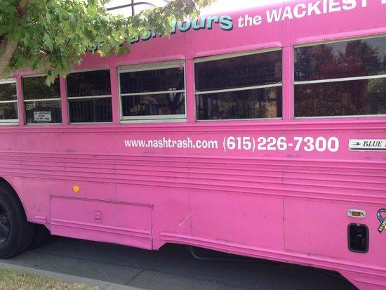 NashTrash Tours: Yes, It's a calamine pink school bus!