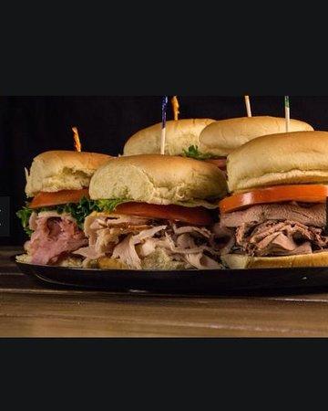 Corner Stable: beef, turkey, ham sliders from the catering menu
