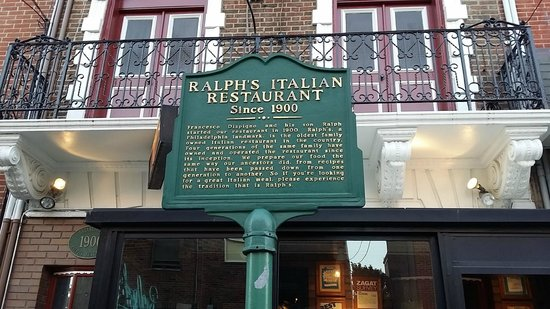 Ralph's Italian Restaurant : Front of Restaurant with Historical Sign