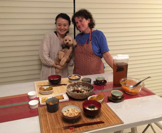 YUCa's Japanese Cooking: Yuka (and Mario) and me, about to dig into some delicious home made Japanese food!