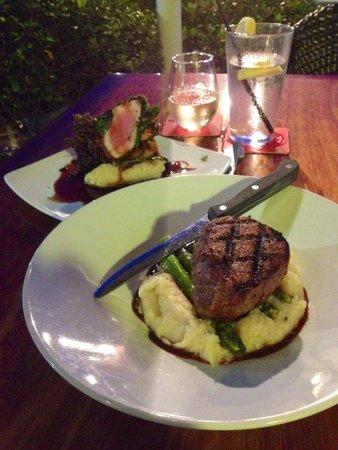 Jaco's Bayfront Bar & Grille: Filet in front, Ahi Tuna in back.
