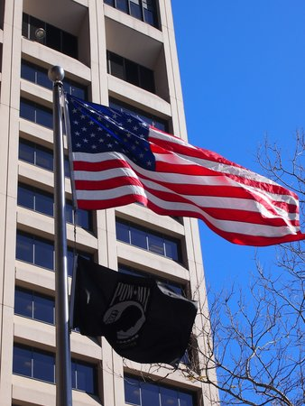 New York City Vietnam Veterans Memorial Plaza: American and POW & MIA flags