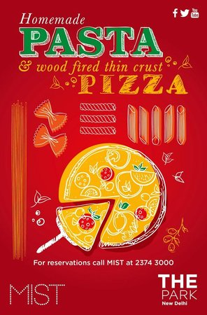 The Park New Delhi: Homemade pasta & wood fired thin crust pizzas at The Park