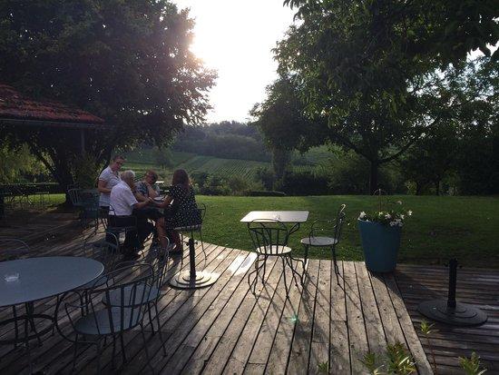 Le Clos Mirande: La terrasse, vue magnifique sur les vignes vallonnées. Havre de paix et de détente.