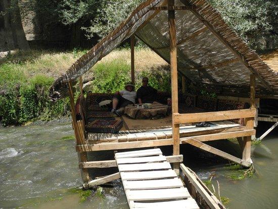 Tandirci Restauran: Gazebos have comfortable cushions for traditional dining