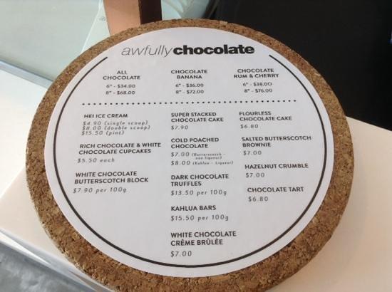 Awfully Chocolate: cakes menu