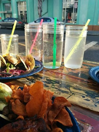 The Rum House Caribbean Taqueria: Iced water is served in preserving jar type glasses!