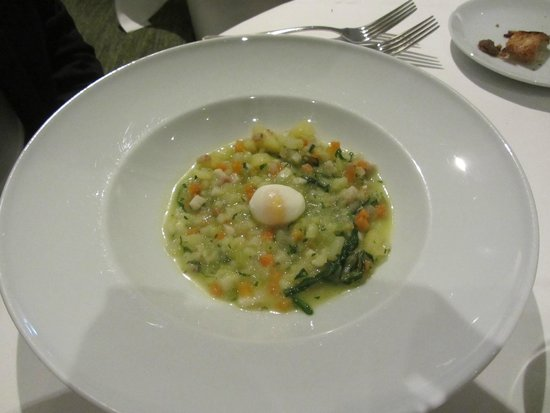 Kitchen W8: Starter: Fricassée of Eel with poached quails egg