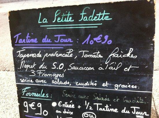 La Petite Fadette : menu