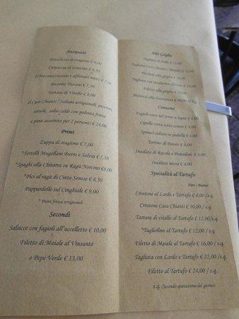 Osteria di Casa Chianti: Il menù