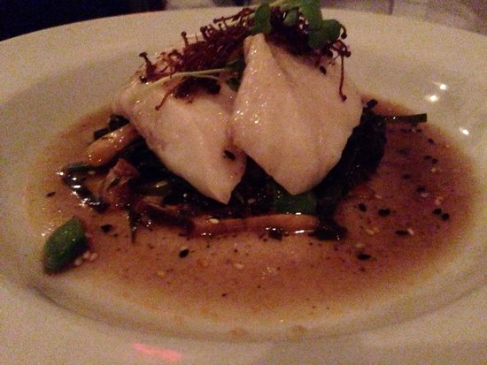 olive oil poached alaskan halibut with seaweed salad, seven spice and ...