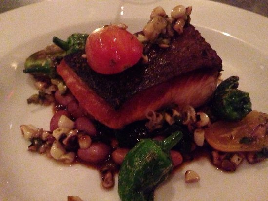 salmon with cranberry beans, smoky tomato, padron peppers and charred ...