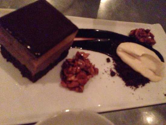 Range : chocolate peanut butter mousse cake with honeyed peanuts and salted caramel cream, $9