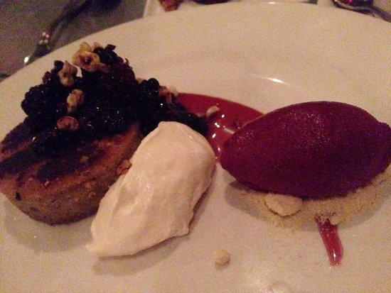 Range : blackberry corn cake, elderberry gastrique and blackberry lime sorbet, $9