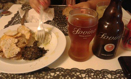 Real Hamburgueria Portuguesa : Entrada e cerveja Sovina