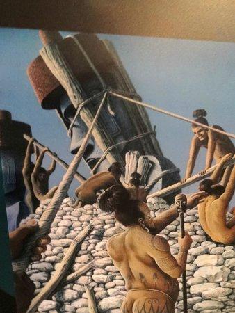 Museo Antropologico P. Sebastian Englert : Representação da construção dos ahus.