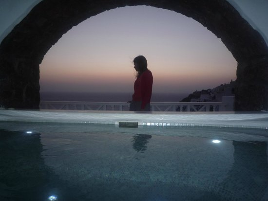 Art Maisons Luxury Santorini Hotels Aspaki & Oia Castle: view from inside our private jacuzzi - Marine suite
