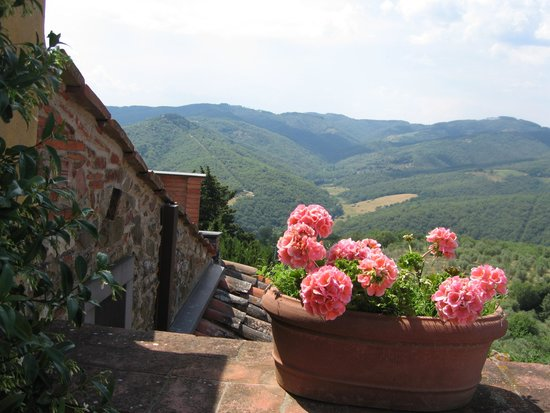 Montebenichi, Italie : Countryside vista from the rooftop patio