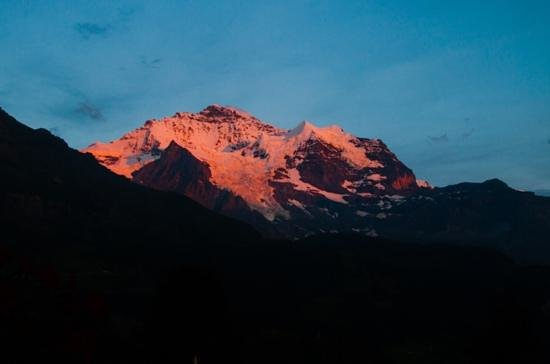 Hotel Wengener Hof: The jungfrau bathed in alpenglow as seen from our room