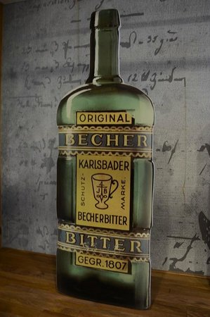 Jan Becher Museum: One of teh former bottle designs