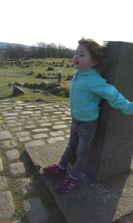 Lindholm Hoeje Museum: my daughter at yhe burial ground.