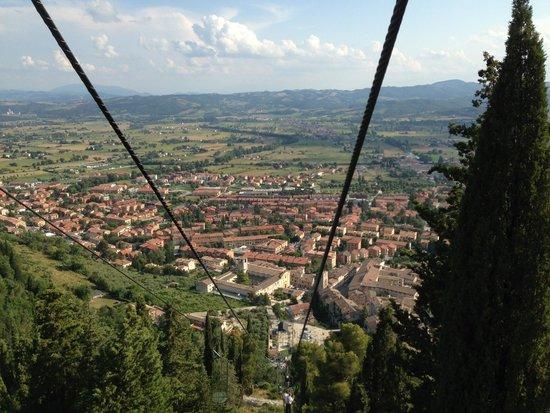 Funivia Colle Eletto : View down to Gubbio on the ride up on the Funivia