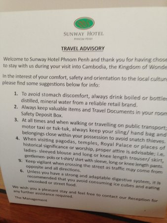 Sunway Hotel Phnom Penh: Travel warning in the room