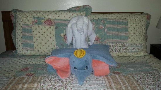 Profile Motel & Cottages: Dumbo made a towel friend!
