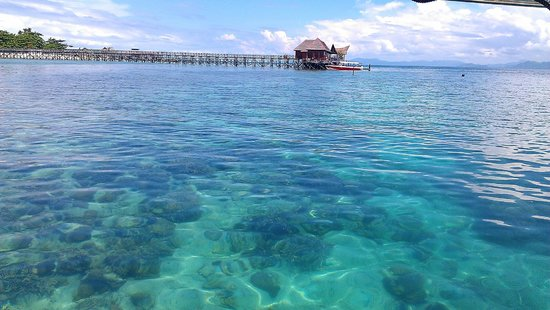 Scuba Junkie Mabul Beach Resort: View from jetty