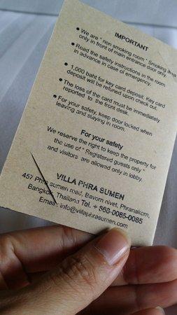 Villa Phra Sumen Bangkok : cardkey holder