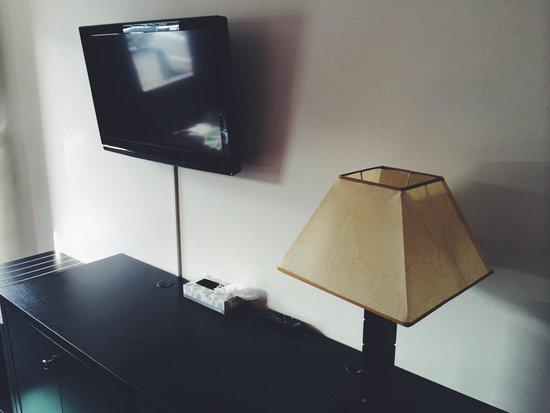 Alpine Inn & Suites: Television et lampe