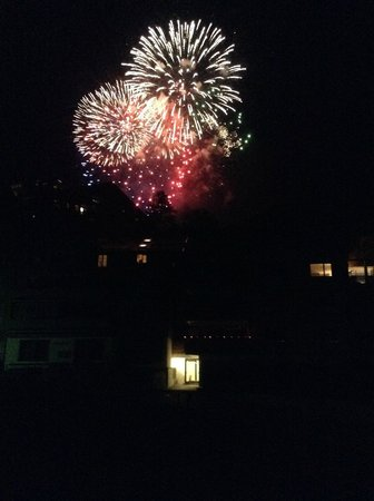 Hotel Baeren: Fireworks photographed from our room window on Swiss National Day