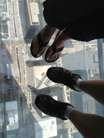 Skydeck Chicago - Willis Tower : My wife and I standing on Skydeck