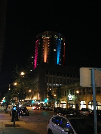 The Pfister Hotel: The tower at night