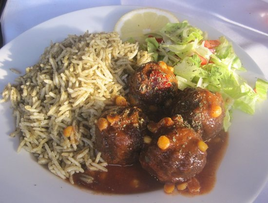 Pomir Grill: Kofta Chalaw (Afghan meatballs in plum sauce) with spinach rice