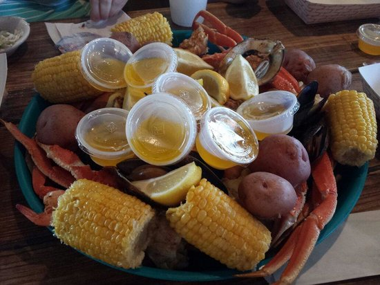 Gulf Shores Steamer: Ocean Steamer. Snowcrab, gulf shrimp, muscles, oysters, corn and potatoes for 6.