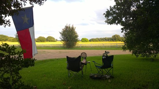 BlissWood Bed and Breakfast Ranch: Front yard view (Writer's Cabin)